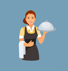 waitress girl vector image