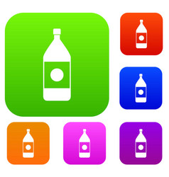 water bottle set color collection vector image