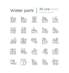 Water park linear icons set vector
