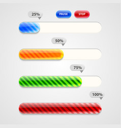 Web Progress Bar Downloading Set vector image