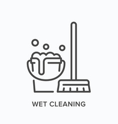 wet cleaning line icon outline vector image
