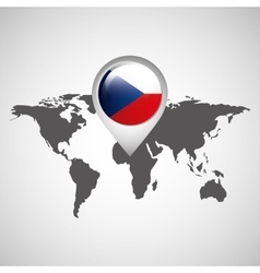 World map with pointer flag czech republic vector