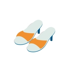 Yellow ladys high heel shoes icon vector