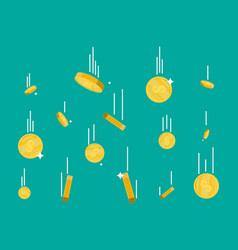 falling gold coins money rain vector image vector image