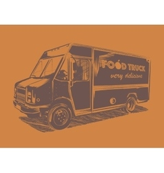 Painted food truck on a orange background vector image