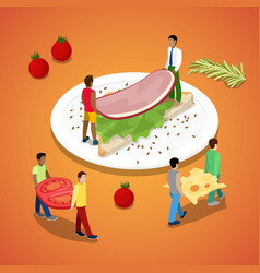 people making sandwich with ham and cheese vector image vector image