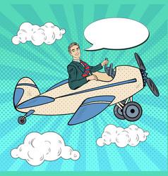 pop art man riding retro airplane vector image vector image