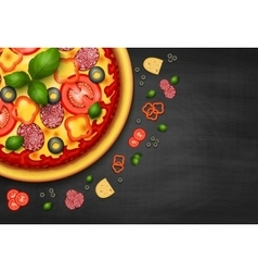Realistic Pizza recipe or menu background vector image vector image