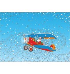 Santa piloting a plane vector