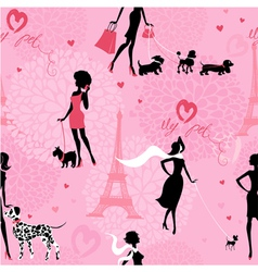 Seamless pattern with black silhouettes of fashion vector image vector image