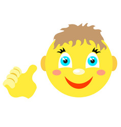 smiley boy with a thumbs up gesture vector image vector image