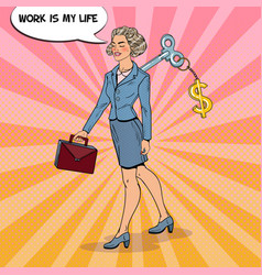 Business woman with key on her back pop art vector