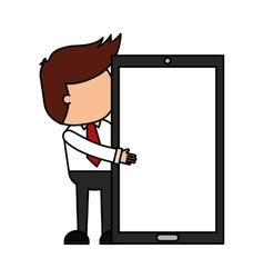 businessman funny with smartphone character icon vector image