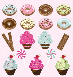 donuts cupcakes and candy vector image vector image