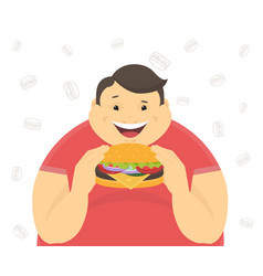 Happy fat man eating a big hamburger vector image