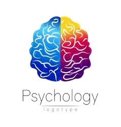 Modern Brain logo of Psychology Human Creative vector image vector image