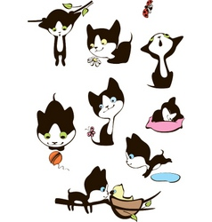 set of cheerful kittens vector image vector image
