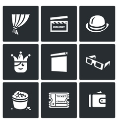 Set of Comedy Cinema Icons Curtain Movie vector image vector image