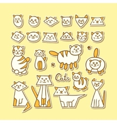 Set of hand drawn funny cats on yellow background vector image
