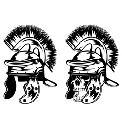 skull in legionary helmet vector image vector image