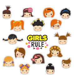 the set of of kids faces with vector image