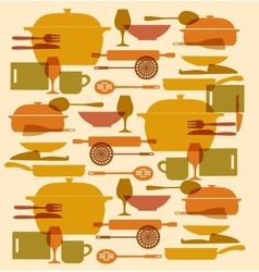 background of kitchenware set vector image