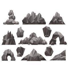 cartoon 3d rock and stone set vector image