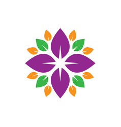 circle leaf colored logo image vector image vector image