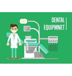 Dental equipment banner with dentist vector image
