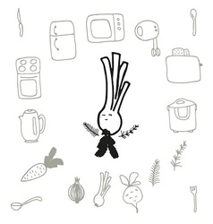 Doodle set of kitchen items and food vector image