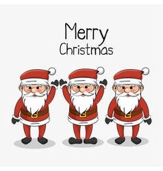 greeting merry christmas set santa claus funny vector image