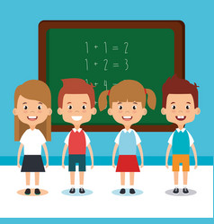 little students with chalkboard avatars characters vector image vector image