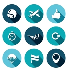 Set of Skydiving Icons Helmet Plane vector image