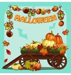 Wagon with pumpkins for Halloween vector image vector image