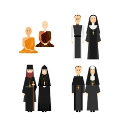 Different religion monk set vector image