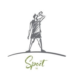 Hand drawn man drinking water after sport vector image vector image