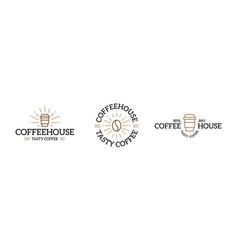 set of coffee logo emblem design templates vector image