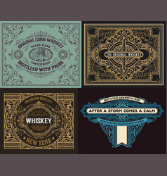 set of old cards vector image