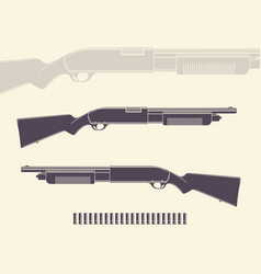 shotgun hunting rifle with shells and silhouette vector image