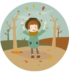 A girl and leaf fall in the circle vector