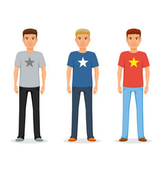 a young man in jeans and a t-shirt with a star vector image
