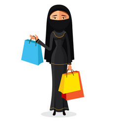 arabic woman with shopping bags flat cartoon vector image