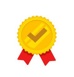 award rosette ribbon with check mark as vector image