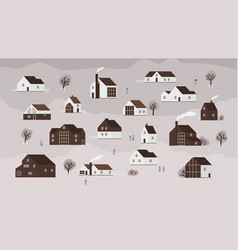 Banner with various country houses of modern vector
