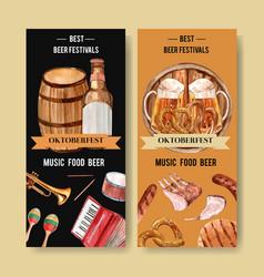 Beer bucket pretzel sausage and musical pieces vector