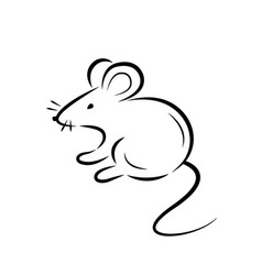 Black silhouette a rat or mouse on a white vector