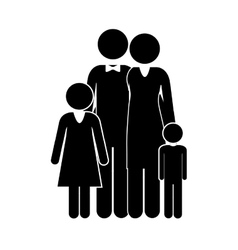 black silhouette of family nucleus vector image