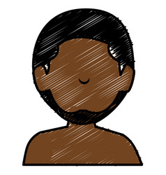 Black young man shirtless avatar character vector