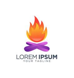 bonfire logo design template isolated vector image