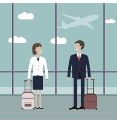 Business Travelers in the Airport vector
